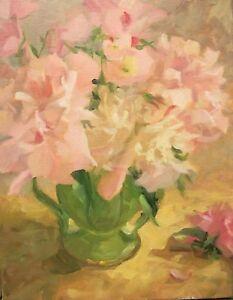 Peonies-6-pink-peonies-amp-Primroses-in-Green-vase-14x11-O-C-Margaret-Aycock