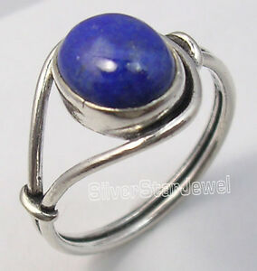 925-Solid-Silver-Collectible-LAPIS-LAZULI-URBAN-STYLE-Ring-Any-Size-TRADITIONAL
