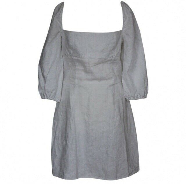 Reformation Hampstead Bouffantes Manches Lin Robe Mini Uk12, Us8, It44 Neuf