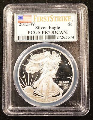 2013-W American Silver Eagle Dollar PR70DCAM PCGS Proof 70 Deep Cameo