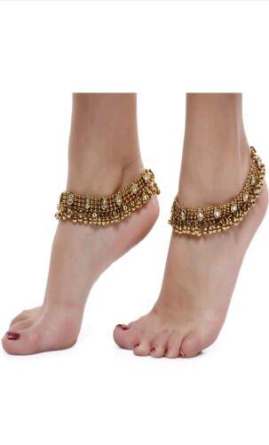 New Payal Indian Traditional Golden Ethnic Antique Kundan Studded Anklet Wedding