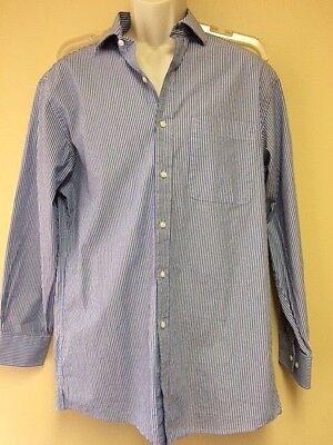 Tommy Hilfiger Mens Button Down Dress Shirt Blue Plaid 15-15.5 32//33 Free Ship