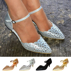 Mid-Low-Kitten-Heel-Courts-Ladies-Sparkly-Evening-Shoes-Party-Ankle-Strap-Pumps
