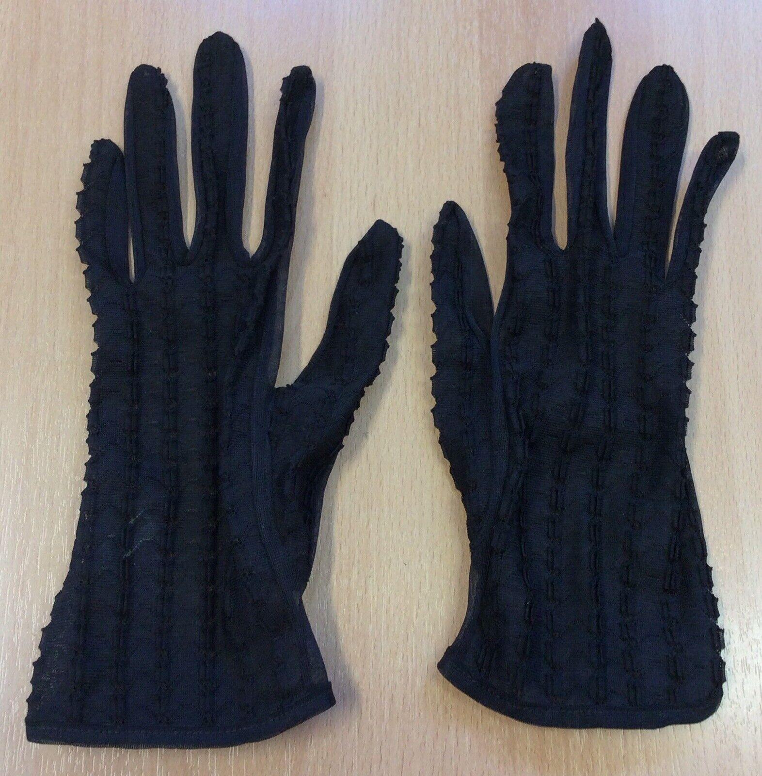 1960s Sheer Black Nylon Formal Gloves XS