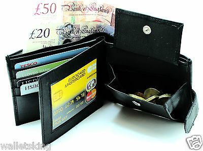 MENS SOFT REAL LEATHER WALLET,CREDIT CARD PHOTO HOLDER,COIN PURSE POUCH - BLACK