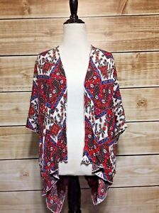 Mesmerized-Red-White-Blue-Paisley-Chevron-Kimono-Sleeve-Open-Cardigan-Small