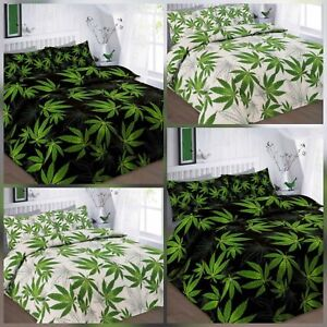 LEAF Duvet Cannabis Weed Leaves Modern Quilt Cover Bedding Set with Pillow Case