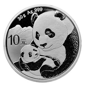30-Gramm-Silber-Panda-2019-10-Yuan-China-Panda-Baer-in-Muenzkapsel-Stempelglanz