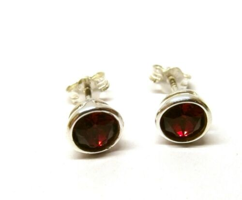 925 Sterling Silver Classic Ruby Red Crystal Round Rub Over Stud Earrings 5 mm
