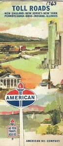 Toll Roads In Chicago Map.1963 American Road Map Toll Roads Chicago Boston New York
