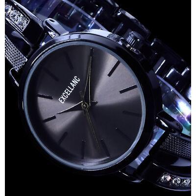 Excellanc Uhr Damenuhr Armbanduhr Schwarz Anthrazit Metall Strass