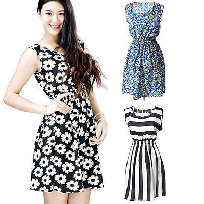Summer Women Dress Casual Dress Butterfly/Floral/Striped Print Chiffon Dresses