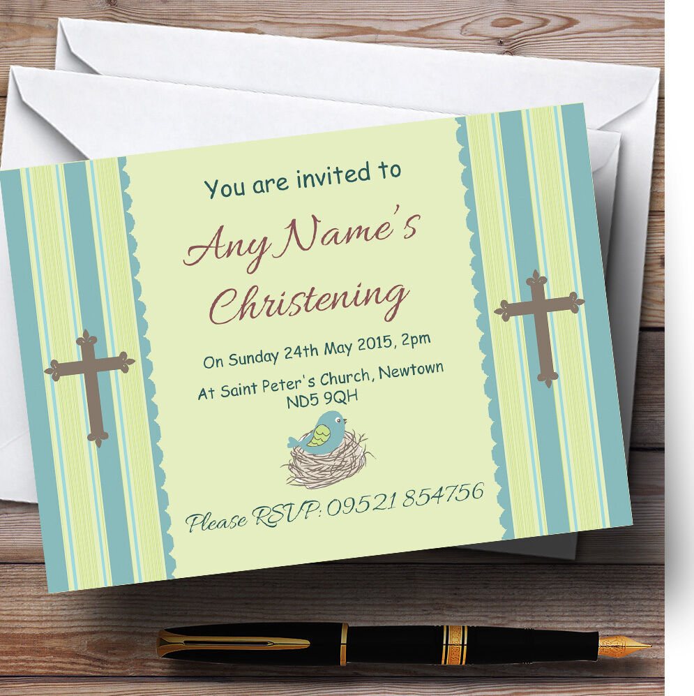 Birds In Nest Boy Christening Party Personalised Invitations