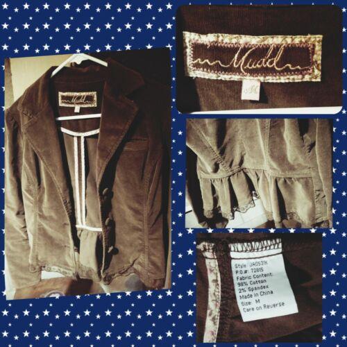 Mudd Brown Cordoroy Denim Fringe Jacket M 70s Hipp
