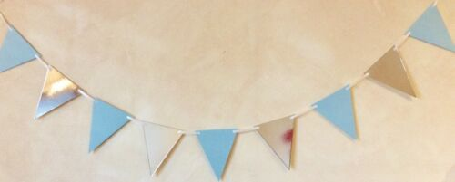 BOYS 1st BIRTHDAY BANNER BLUE AND SILVER 12 FLAGS