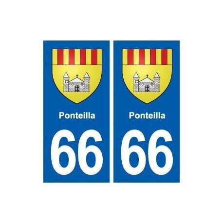 66 Ponteilla blason autocollant plaque stickers ville -  Angles : droits