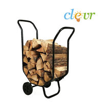 Firewood Log Cart Caddy Wood Carrier Fireplace Holder Fire Rolling Dolly Rack