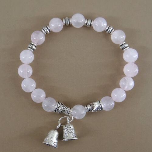 Bracelet pierres naturelles en perles de quartz rose de 8 mm avec clochette