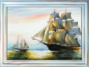 Painting-Sea-Handmade-Oil-Painting-Picture-Oil-Ships-Frame-Pictures-00516