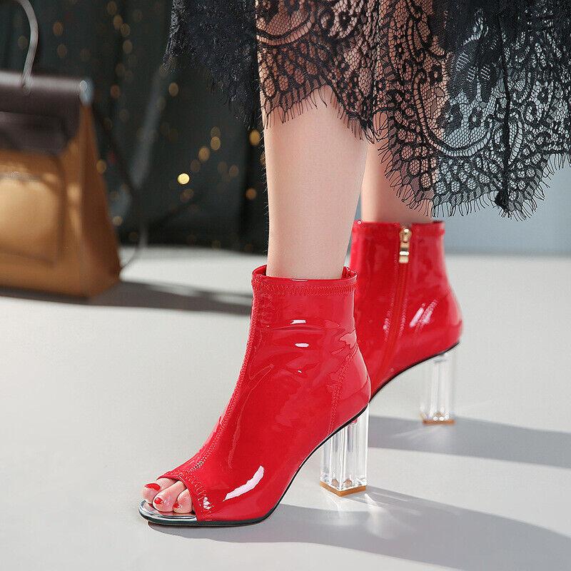 Kvinnliga skor med öppna tår, skor med snygga klackar Blockera nattklubbar Party skor