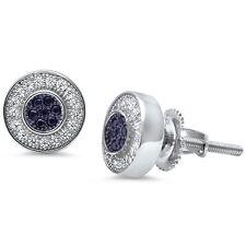 Round Black Onyx & CZ .925 Sterling Silver Stud Earrings
