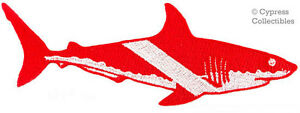 GREAT-WHITE-SHARK-EMBROIDERED-PATCH-SCUBA-DIVING-iron-on-DIVER-DOWN-EMBLEM-GIFT