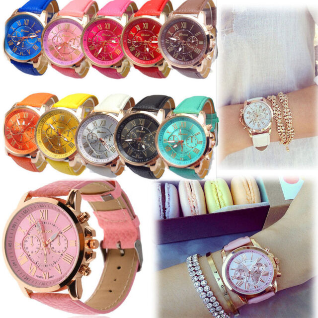 Geneva Women Girl Roman Numerals Leather Band Quartz Wrist Watch Cuff Bracelet
