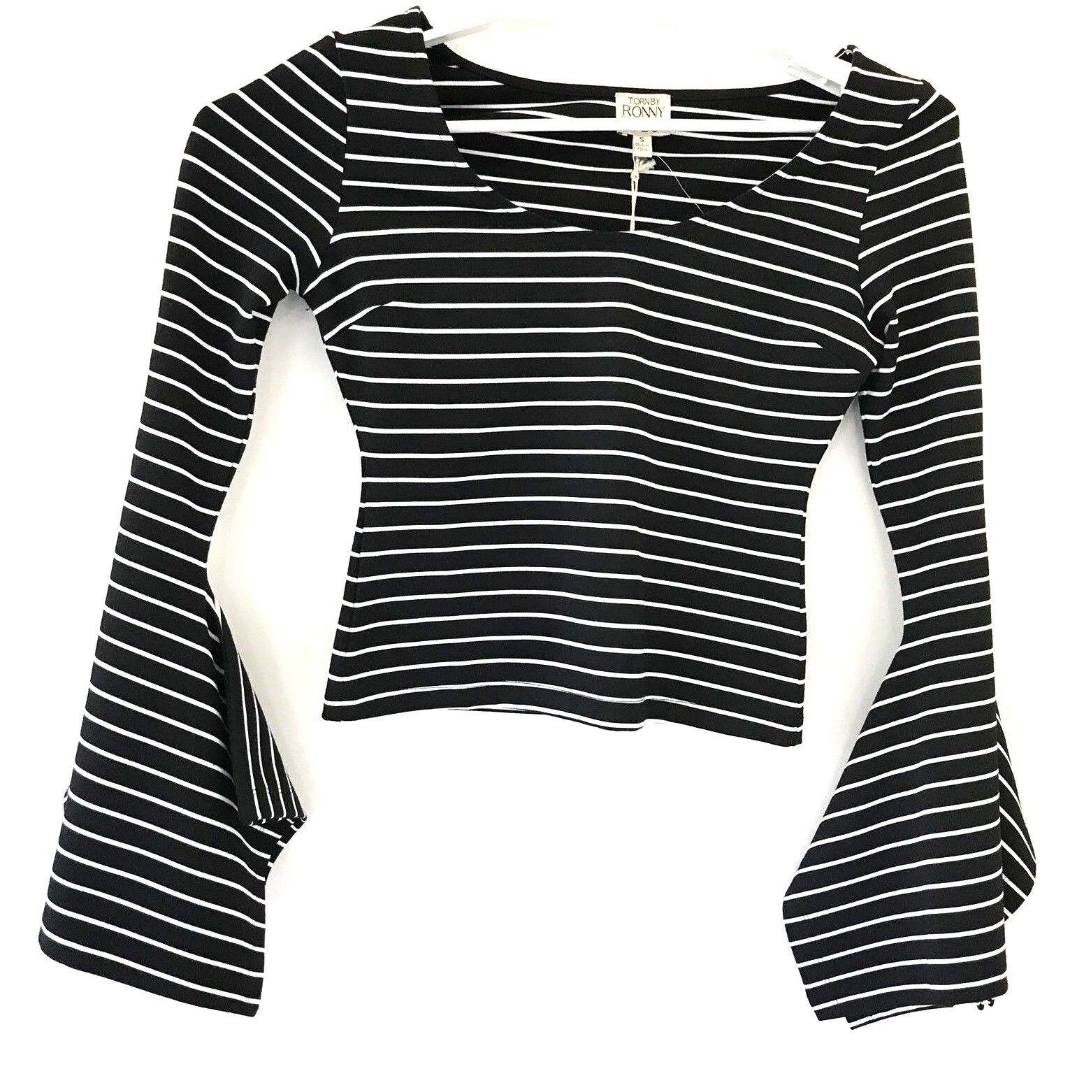 Torn by Ronny Kobo Bell Sleeves Striped schwarz Weiß Crop Top Größe X Small