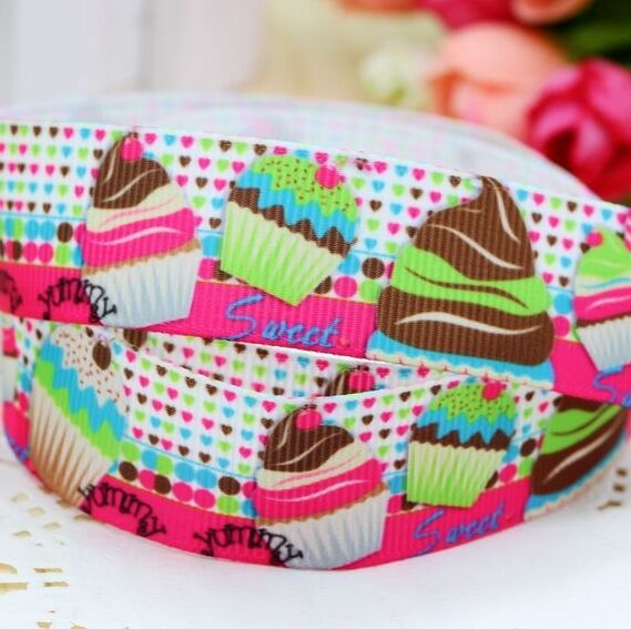 "Grosgrain Ribbon 7/8"" Cupcakes Printed for Hairbows USA Seller"