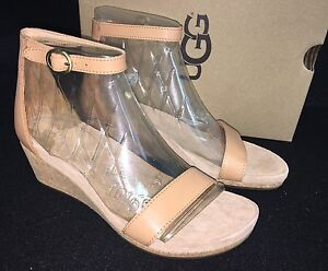 5dbcaf1ab44 Image is loading UGG-Emilia-Wedge-Ankle-Strap-SANDALS-Natural-Leather-