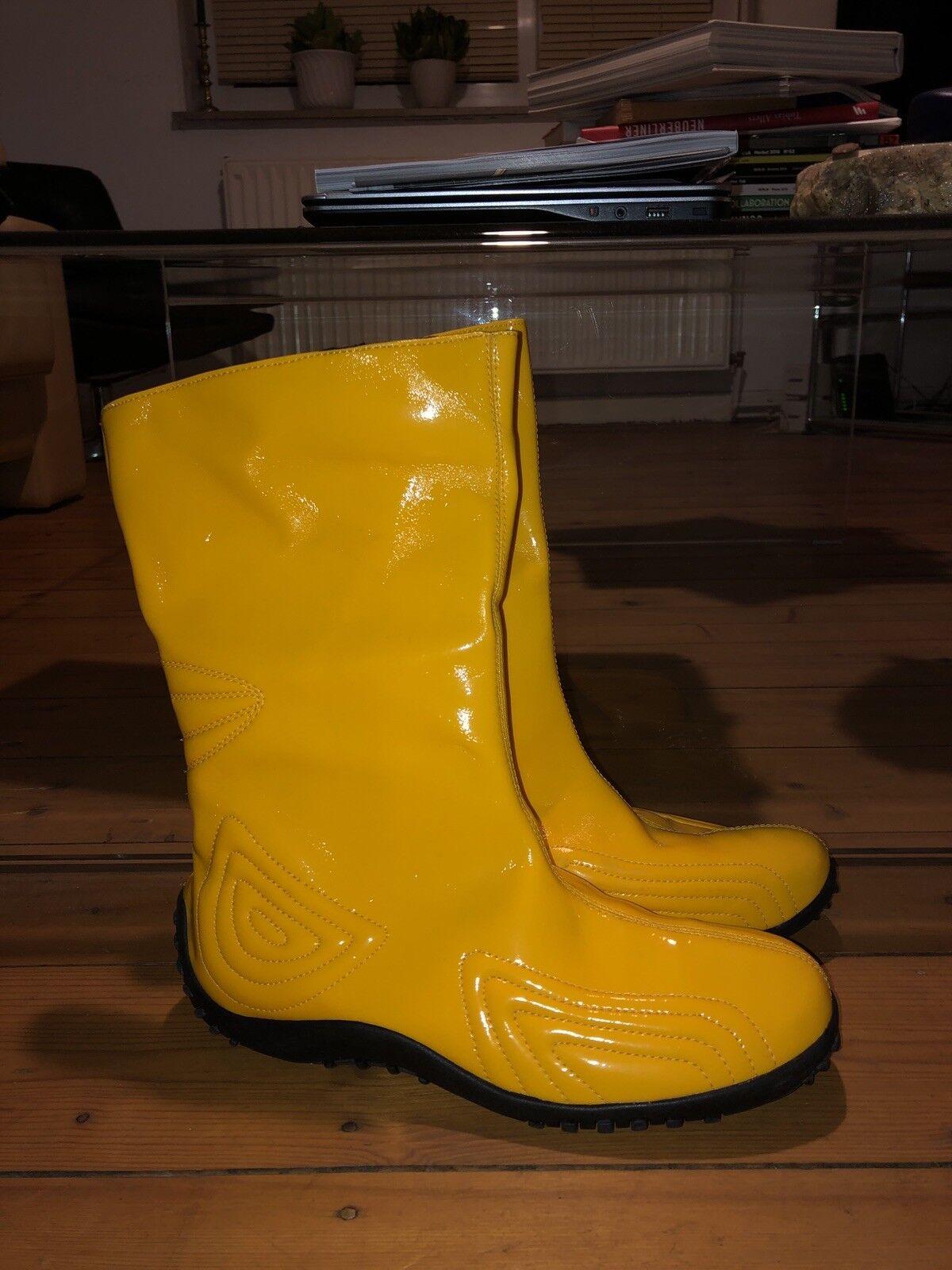 Romika botas de goma laca amarillo vintage 90er talla. 40 rara vez top estado ungetragen