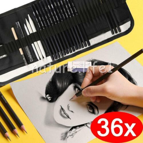 36 Skizzierstifte Set Bleistifte Zeichnen Skizzieren Kohlestift Zeichenstift Neu