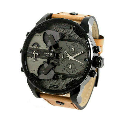 DIESEL MR.DADDY 2.0 Brown Leather Black Grey Chronograph Steel Mens Watch DZ7406