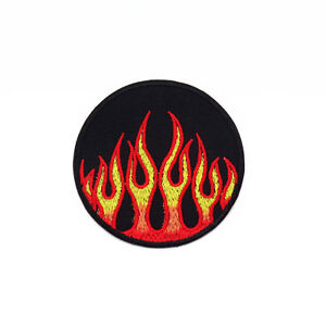 Embroidered-Iron-On-Patch-Flame-Fire-Burn-Round-Logo-Decor-Fabric-Sew-Craft-DIY