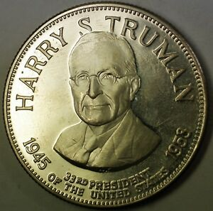Harry S Truman Presidential Commemorative Sterling Silver Medal Coins & Paper Money Medals