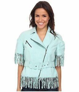 Teal in Wear Giacca Boogie moto scamosciata S D Cow con wow Ranch frange pelle Double blu 8YxwfqEgx