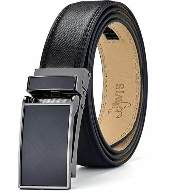 Mens Genuine Leather Belt,Bulliant Slide Ratchet Belt with Automatic Buckle