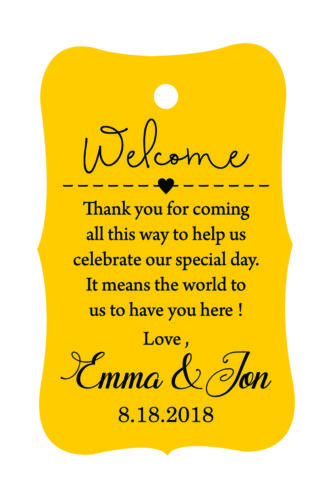 100 PCS Wedding Welcome Personalized Favor Gift Paper Tags Hang-PAR-TAG-20