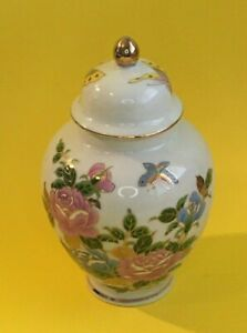 Ginger Jar - Urn/Lid Flowers & Butterflies/ Gold gilding