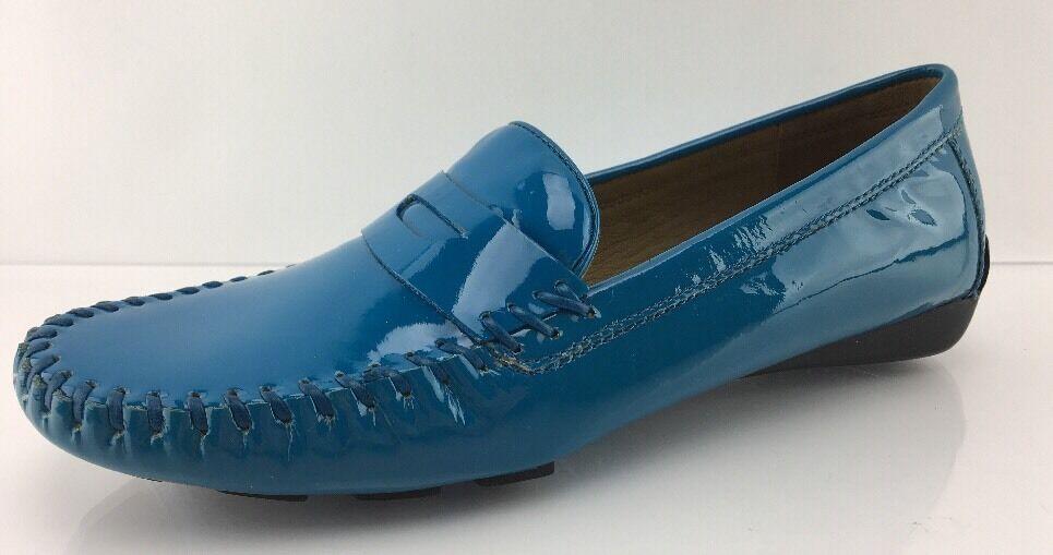 $240 Robert Zur Women's Blue Leather Flats 7 M