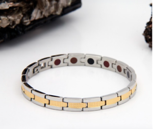 Authentic-Pur-life-Negative-Ion-Bracelet-ELEGANT-STAINLESS-amp-Gold-Steel-PURELIFE