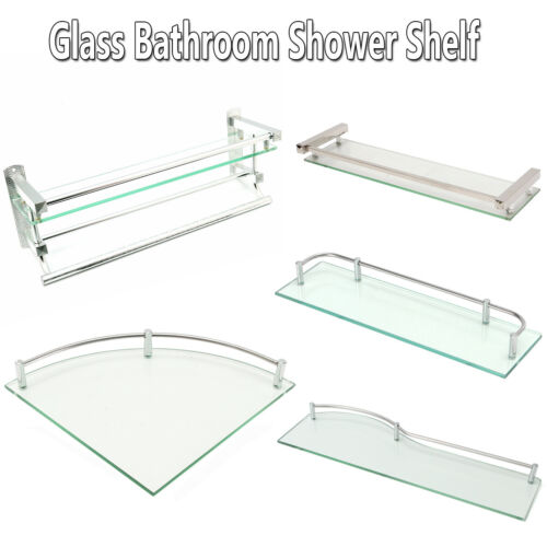 Bathroom Shower Glass Shelf Corner Rectangle Rack Towel Rail Organizer Holder