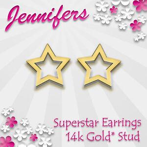 Gold-Star-Earrings-Stud-14ct-Superstar-Pentagram-Small-Studs-Earring-Jewellery
