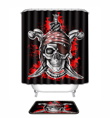 "72x72/""Pirate Skull Polyester Fabric SHOWER CURTAIN Bathroom MAT 12HOOK 1551"