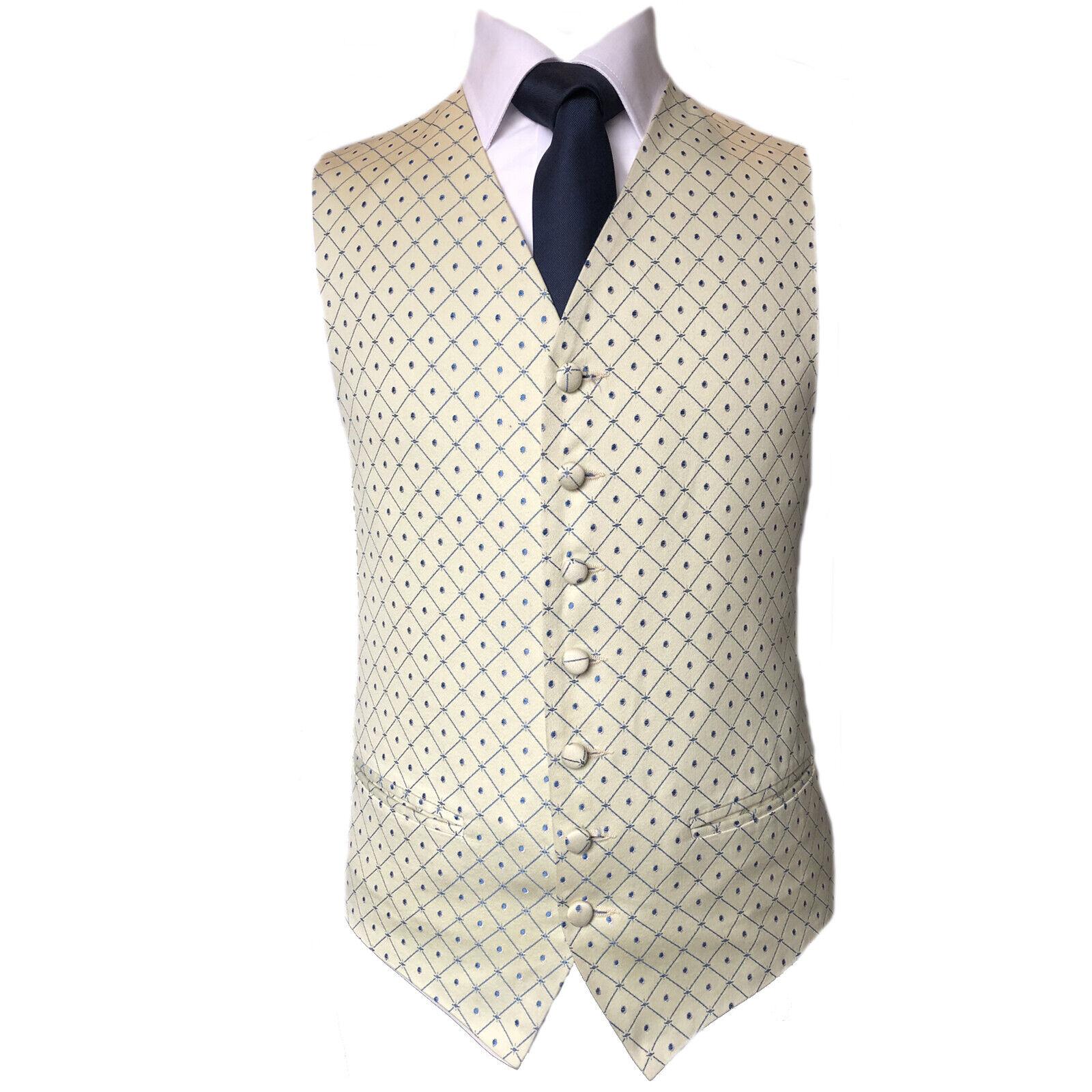 Blue Diamond Ivory Waistcoat Vest Wedding Formal UK Men's (A58)