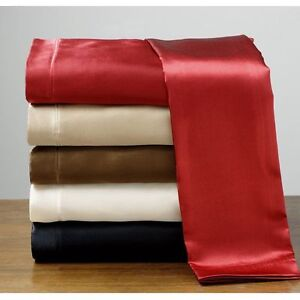 Cal-King-Size-Silk-Feel-Luxury-Satin-Pillowcase-Fitted-Flat-Bed-Sheet-Set-New