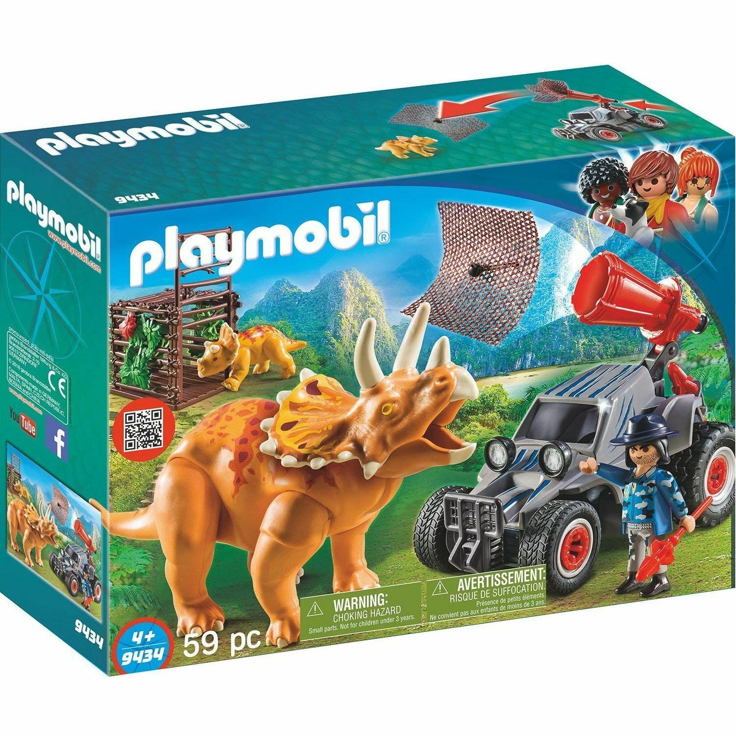 Playmobil 9434 Quad with Triceratops Toy Set