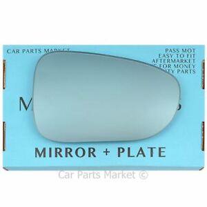 For Seat Alhambra 98-10 Right Driver side Flat Blue wing mirror glass
