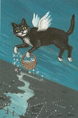 4X6 XMAS POSTCARD PRINT LE 5/27 RYTA VINTAGE STYLE ART TUXEDO CAT ANGEL FOLK