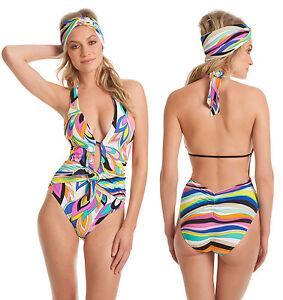 27ab1939a5 $140 Trina Turk St Tropez Print Retro Wrap One Piece Halter Swimsuit ...